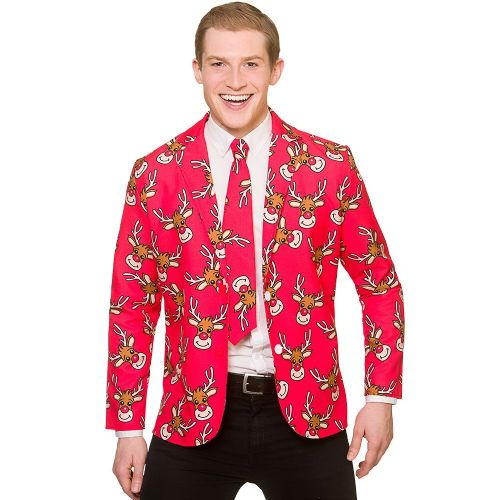 Christmas Jacket & Tie - Reindeer Christmas Fancy Dress